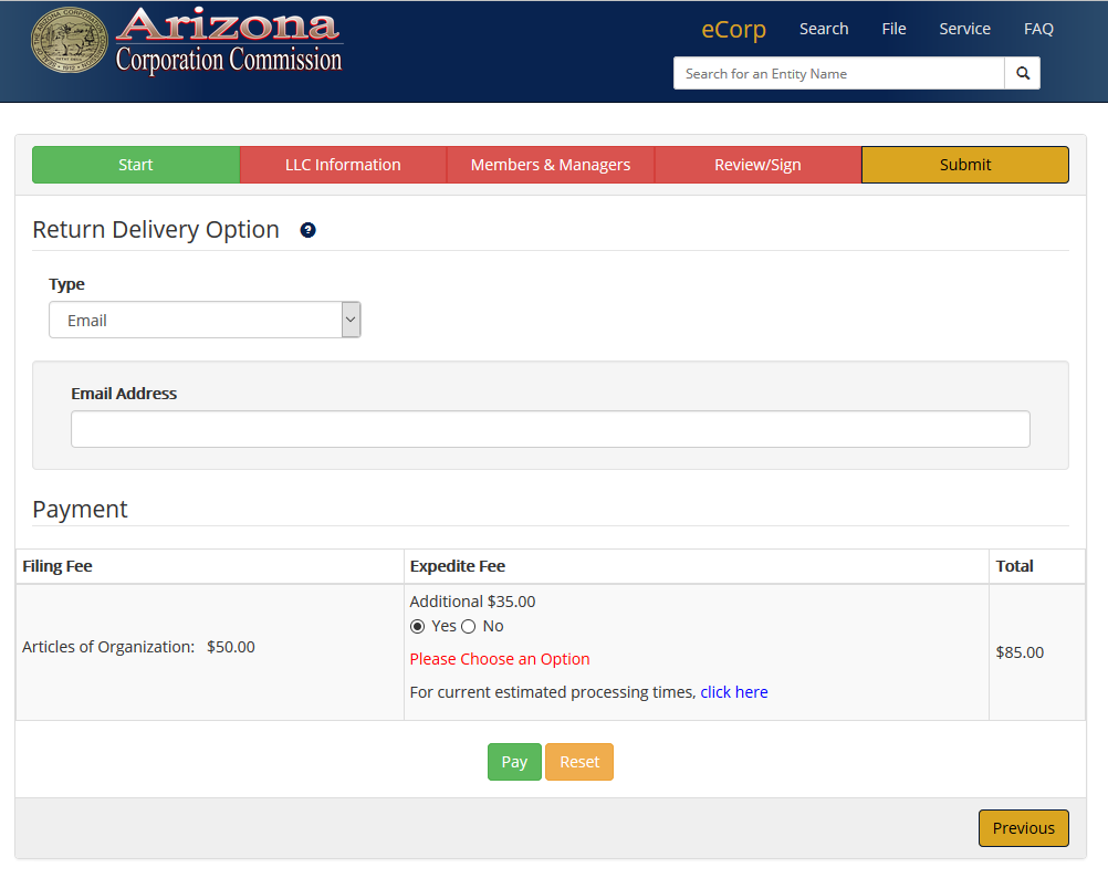 how to file for an llc in az